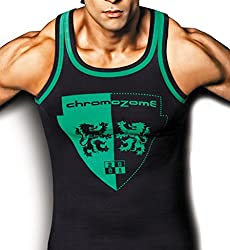 Chromozome Men ST4 Insignia Gym Vest, Size: L, Colour: Black, Yellow - Pack of 2