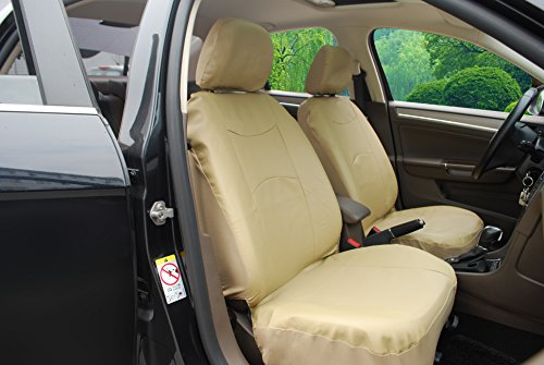115903 Tan Leather Like 2 Front Car Seat Covers Compatible