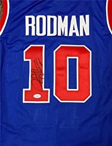 Dennis Rodman Autographed Hand Signed Blue Detroit Pistons Jersey PSA DNA by Hall of Fame Memorabilia