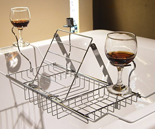 MelonBoat Expandable Bathtub Caddy Tray with Reading Rack and Wine Glass Holder, Chrome Max 34 inch (Tub Rack Caddy compare prices)