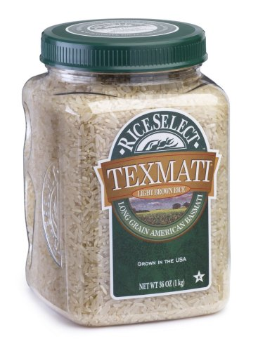 RiceSelect Texmati Long Grain American Basmatic, Light Brown Rice, 36-Ounce Jars (Pack of 4)