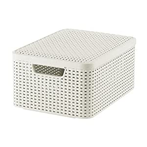 Curver Style 205848 Storage Box Rattan Look Size M with Second-Generation Lid Polypropylene