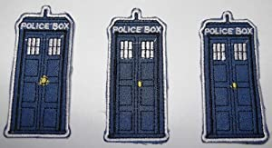 """Doctor Who 3"""" TARDIS Police Box (Set of 3) Embroidered PATCHES"""