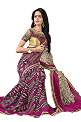 Ambica women faux grorgette digital print saree(Amb-4213_pink_Freesize)