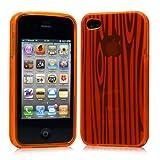 iPhone 4 ケース ソフト TPU ゼブラ模様  オレンジ 液晶保護フィルム USB充電ケーブル付