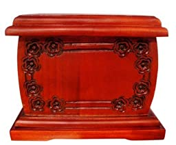 Urnporium Mahogany Repose (Horizontal) Adult Wood Cremation Urn (Wooden Funeral Urn)