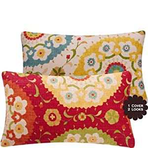 "Fiesta Infusion Collection - Richloom Cornwall Designer Boutique 12""x20"" Lumbar Throw Pillow Covers - Flowers, Circles and Leaves - Gold, Tan, Teal, Rose, Golden Ochre, Olive, Orange and Red Hues - 1 Pillow Cover"