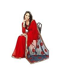 Janasya Printed Chiffon Sari With Brocade Border