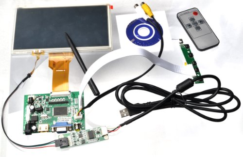 """Diy Monitor For Raspberry Pi-(Hdmi+Vga+2Av) Lcd Driver Driver + 7"""" At070Tn93 800×480 With Touch Panel Kit"""