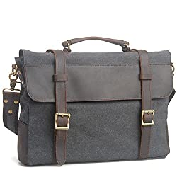 Peacechaos vintage Canvas Leather Messenger Traveling Briefcase Shoulder Laptop Bag