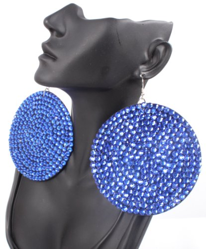 Blue 3.5 Inch Circle Poparazzi Earrings Iced Out Light Weight Basketball Wives