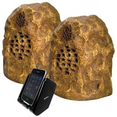 C2G / Cables To Go Audio Unlimited 900Mhz Wireless Indoor/Outdoor Rock Speaker Bundle (Rechargeable) With Dual Power Transmitter, Sandstone (Spk-Rock-Duo3)