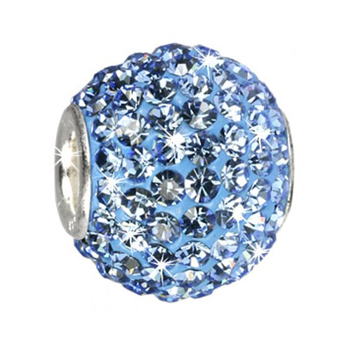 SilberDream Glitter Bead Swarowski Elements blue shiny, 925 Sterling Silver Bead, for Bead Bracelet, Necklace or Earring GSB204