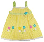 Sweet & Soft Toddler Girls 2-4T Yellow Plaid Gingham Flowers Summer Dress