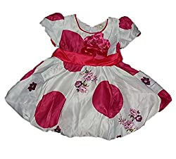 Wise Guys Party Wear Designer Frock for Baby Girls with Bow (6 to 09 Months) FROCK1