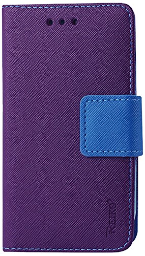 Reiko Flip Wallet Case 3-In-1 Leather Case Cover with Stand Function for Samsung Galaxy Ace - Retail Packaging - Purple with Blue Interior (Reiko Flip Wallet Case Galaxy Ace compare prices)