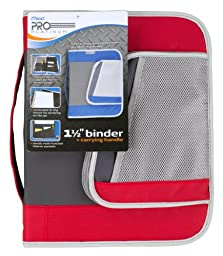 Mead PRO Platinum Heavy-Duty Zipper Binder with Handle, 1.5 Inch Capacity, 11.25 x 13.75 x 2 Inches, Red (72872)