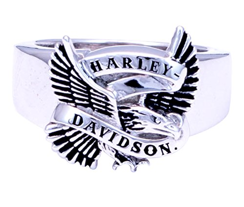 Harley-Davidson Mens .925 Silver Flying Eagle Banner Silver Ring (11)