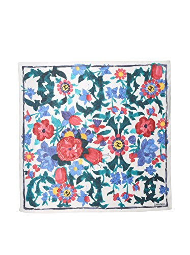 CHANEL Women's Patterned Scarf, White/Pink/Blue
