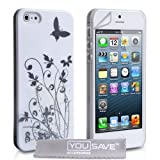 """Schutzh�lle iPhone 5 H�lle Blumen Schmetterling Harte Tasche - Wei� / Silbervon """"Yousave Accessories�"""""""