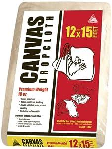 Trimaco 51123 Premium 10-Ounce Canvas Drop Cloth, 12-Feet x 15-Feet