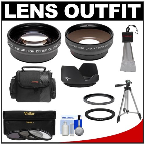Bower Fa-Dc67A Adapter Ring For Canon Powershot Sx40, Sx50, Sx520 & Sx60 Hs Camera (67Mm)With .45X Wide Angle & 2X Telephoto Lenses + 3 Uv/Nd8/Cpl Filters + Hood + Case Kit