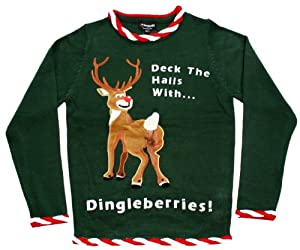Ugly Christmas Sweater - Rudolph Dingleberries Sweater in Green