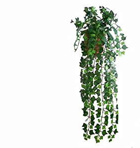 Artificial Fake Hanging Vine Plant Leaves Garland For Home Garden Wall Decoration Pack of 1,Green by Three Fire Dragon