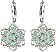 Lucia Costin .925 Silver, Mint Blue Swarovski Crystal Earrings, Fascinating