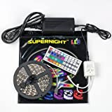 SUPERNIGHT 16.4ft 5M Non-waterproof Flexible Strip 300leds Color Changing RGB SMD5050 LED Light Strip Kit RGB 5M +44Key Remote+12V 5A Power Supply