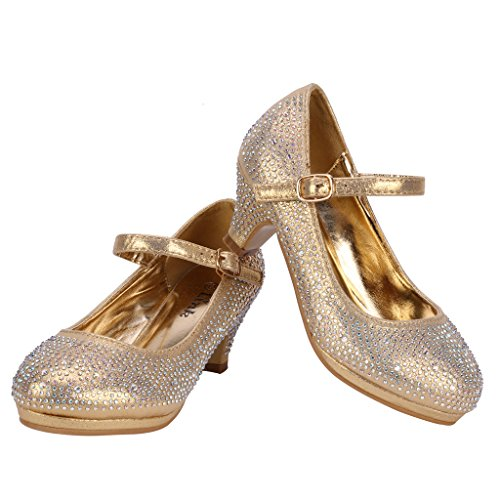 Coshare Kid's Fashion Little Girl Pretty Party Dress Pumps, Gold - Satin PU 1.5
