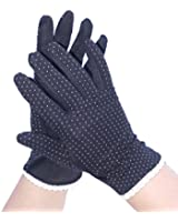 ladies Anti-Slip Cotton Fashion Driving / Everyday Use Gloves with Bow and Cotton Lace Slim Fit Size M