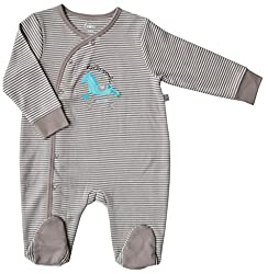 Babeez Baby Boys sleeper / oneise with booties attached (100% Cotton Interlock) to fit height 62 - 68 cms