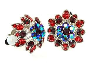 Aurora Borealis Austrian Crystal Flower Clip-on Earrings - (AB) Red