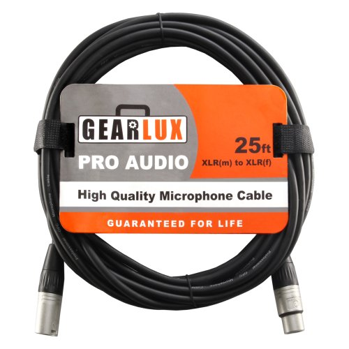 Gearlux Balanced 25-Foot Xlr Microphone Cable With Oxygen-Free Copper Conductor - Male To Female