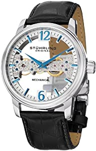 Stuhrling Original Men's 841.01 Aristocrat Cardinal Mechanical Bridge Skeleton Silver Dial Watch
