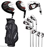 Wilson Prostaff HL Mens Complete Golf Club Set & 2015 Prosaff Black Cart Bag All Graphite Right Hand