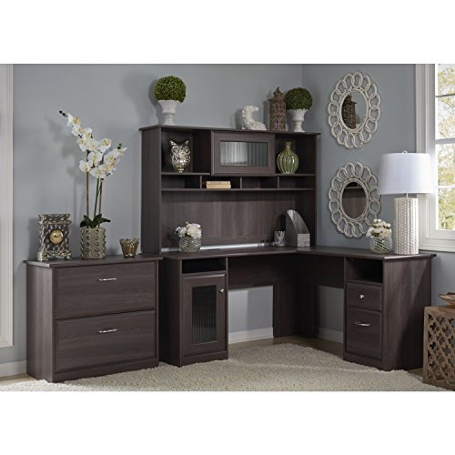 Cabot L Shaped Desk With Hutch And Lateral File Cabinet In