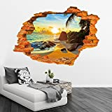 sunrise sunset break hole wall stickers decals sun beach landscape vinyl wallpaper mural adult home room salon decor