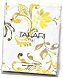 Tahari Luxury Cotton Blend Shower Curtain Yellow Gray Paisley on White, Philippa