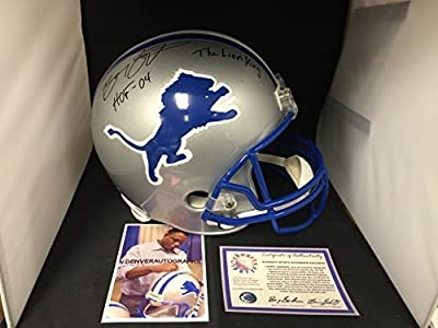 Barry Sanders Signed Autographed Lions Full Size Helmet MULTI INSCRIBED Schwartz Sports Player Hologram & COA Card