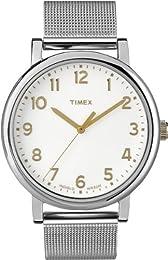Timex Originals Easy Reader, Silvertone Mesh Bracelet, Goldtone numerals - T2N600