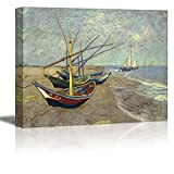"""Wall26 - Fishing Boats on the Beach at Les Saintes-Maries-de-la-Mer by Vincent Van Gogh - Oil Painting Reproduction on Canvas Prints Wall Art, Ready to Hang - 36"""" x 48"""""""