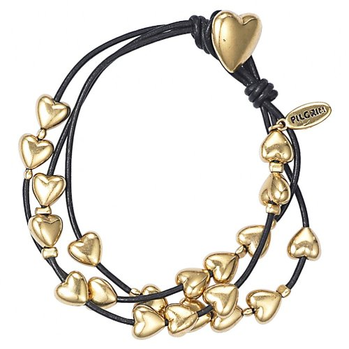 Pilgrim Classics Leather & Gold Plated Heart Bracelet