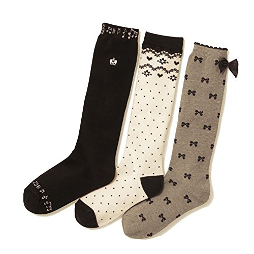 Deer Mum Girl'S Cartoon Cotton Absorb Sweat Tube Socks With Bowknot Pattern 3 Pairs (S) front-148613