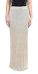 ZOYS Women's Lycra Regular Fit Skirt (ZOYSMS02 _ 30, White and Black)