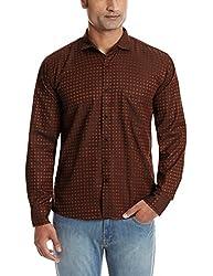 Dennison Men's Casual Shirt (SS-16-431_40_Dark Brown)