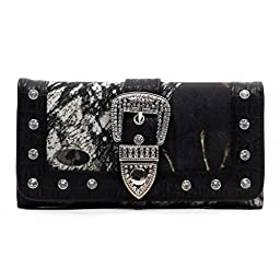 Realtree Western Buckle Camouflage Womens Trifold Checkbook Wallet (MO/BK Black)