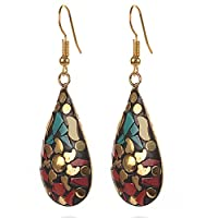 Zephyrr Red, Green Non-Precious Metal Dangle & Drop Earrings For Women