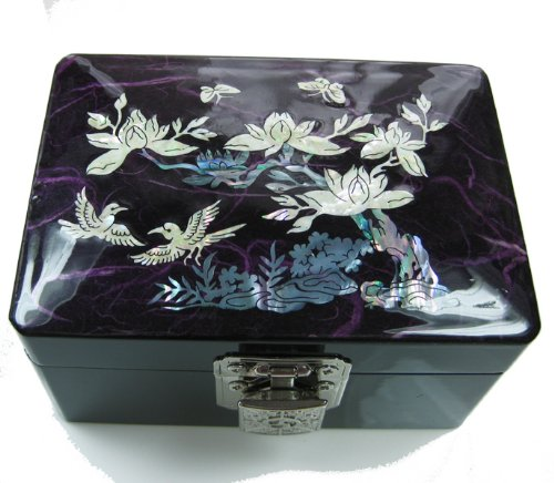 Mother of pearl lacquer wooden jewellery box, wood keepsake case, handmade gift. Purple Flower